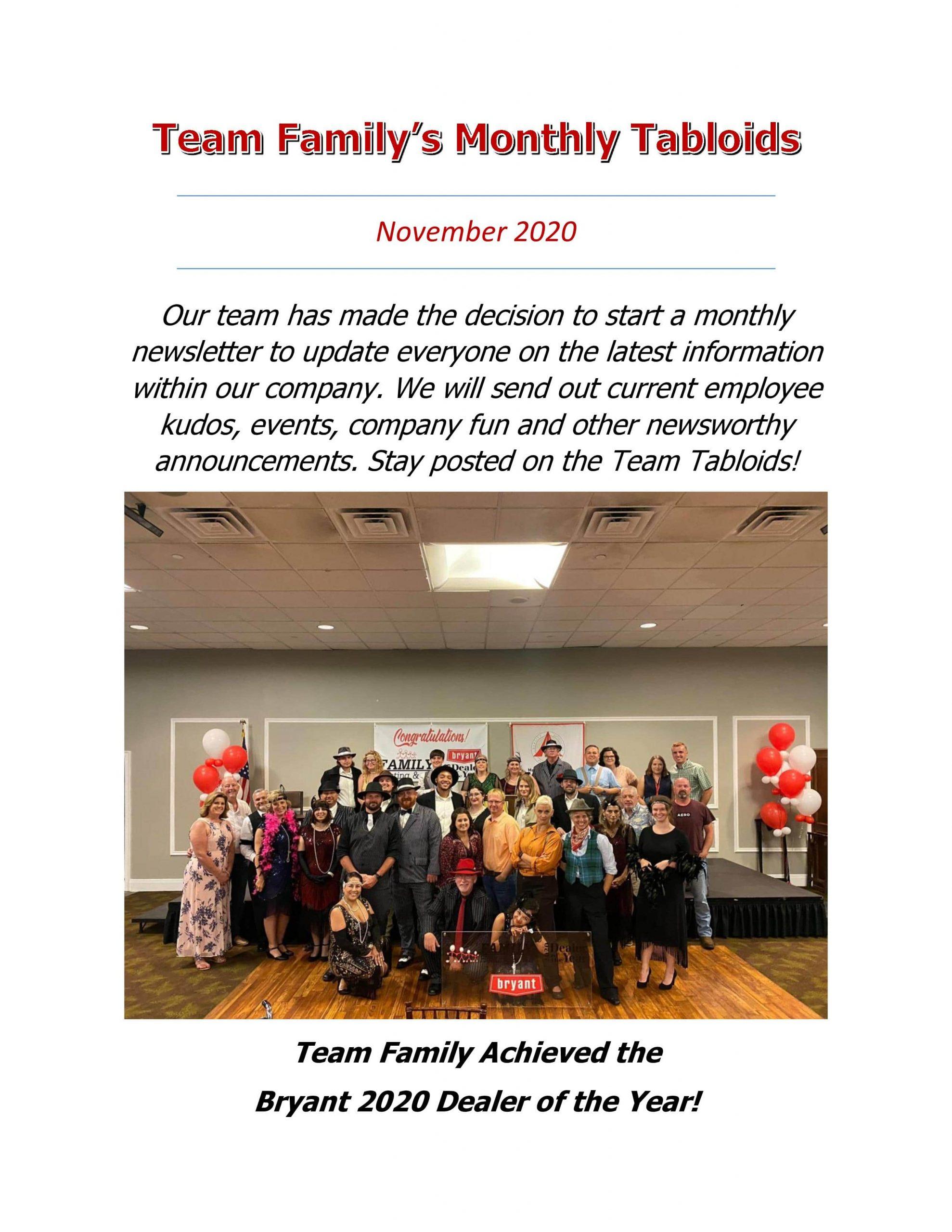 Team Family Monthly Tabloids - November 2020
